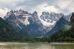 Lago di Landro lake, Dolomites, Italy. Alpine mountain lake Lago di Landro with Cristallo Group in the background Royalty Free Stock Photo