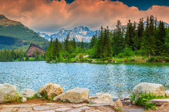 Alpine mountain lake in Vysoke Tatry,Strbske Pleso,Slovakia,Europe Royalty Free Stock Photography