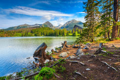 Alpine mountain lake in Vysoke Tatry,Strbske Pleso,Slovakia,Europe Royalty Free Stock Images