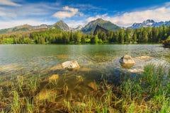 Alpine mountain lake in Vysoke Tatry,Strbske Pleso,Slovakia,Europe Stock Image
