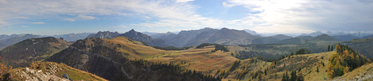 Alpine mountain panorama in autumn Stock Images