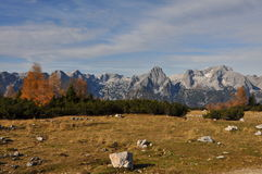 Alpine mountain panorama in autumn Royalty Free Stock Images
