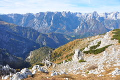 Alpine mountain panorama in autumn Stock Photo