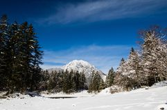 Alpine mountain pass winter scenery landscape by lake lago del predil in sunny blue sky in snowfall, italy Royalty Free Stock Photo