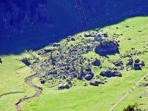 Alpine mountain pasture valley Alpsee in the Alpstein mountain range and in the Appenzellerland region. Canton of Appenzell Innerrhoden AI, Switzerland stock image