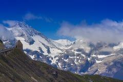 Alpine mountain peak with blue sky background. Grossglockner pass stock photo