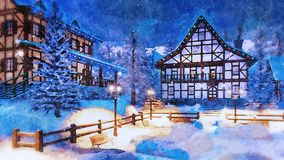 Alpine mountain town at winter night in watercolor. Winter landscape in watercolor - cozy alpine mountain town with illuminated half-timbered houses and royalty free stock photography