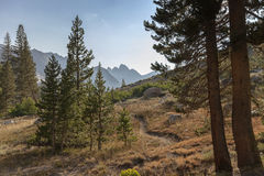 Alpine Mountain Trail. A winding high alpine mountain trail leading to granite mountain in the background on the Pacific Crest Trail Royalty Free Stock Photo