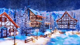 Alpine mountain village at winter night watercolor. Decorative winter landscape in watercolor - snow covered alpine mountain village with illuminated traditional stock images