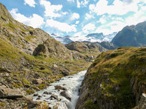Alpine mountain water stream in Switzerland Royalty Free Stock Images
