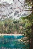 Natural scene. Alpine mountaine green lake. Gruner see, Austria Royalty Free Stock Photos