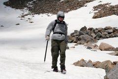 Alpine Mountaineering - Montana. Mountaineer Jade Sobek traversing a glacier near Omega Lake, Montana royalty free stock photography