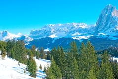 Alpine mountains. Against blue sky royalty free stock photos