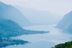 Alpine mountains and Como lake landscape, Italy. Alpine mountains and Como lake landscape, Lombardy, Italy royalty free stock photos