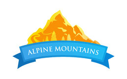 Alpine Mountains Emblem. In Golden and Blue Color Scheme isolated on white. Logo of Nature of Alps Royalty Free Stock Photos