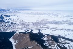 Alpine mountains and forest. Aerial view of the Alpine mountains and forest Stock Photo