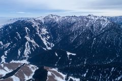 Alpine mountains and forest. Aerial view of the Alpine mountains and forest Stock Images