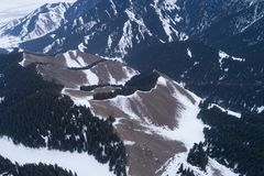 Alpine mountains and forest. Aerial view of the Alpine mountains and forest Stock Photos
