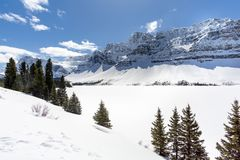 Alpine Mountian over Frozen Lake. Alpine mountain looking over frozen lake off of glacier parkway in banff national park stock image