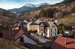 Alpine municipality Prein an der Rax. Austria. View from the mountains to the village Prein on the Rax (german: Prein an der Rax). Austria Royalty Free Stock Photography