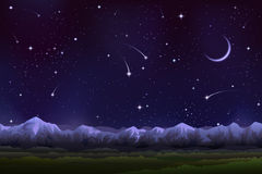 Alpine night panorama Royalty Free Stock Photo
