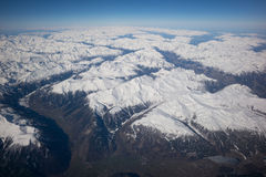 Alpine panorama from the aircraft, Royalty Free Stock Images