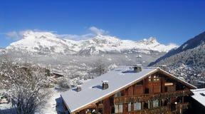 Alpine panorama in France. Ski resort in France Alps Stock Image