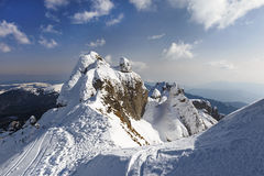 Alpine panorama with snow covered cliffs Royalty Free Stock Images