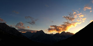 Alpine panorama sunset Royalty Free Stock Photos