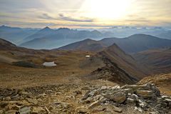 Alpine panorama at sunset Stock Photo