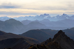Alpine panorama at sunset Stock Photos