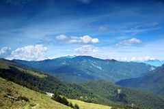 Alpine Panorama in Taiwan. A sweeping view of the Central Mountains in Taiwan royalty free stock photo