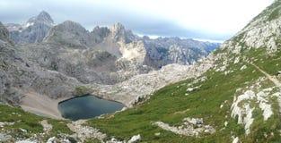 Alpine panorama in Triglav National Park with Zgornje Kriško jezero Royalty Free Stock Images