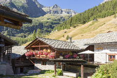 Alpine panorama with Walser huts Royalty Free Stock Images