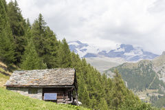 Alpine panorama with Walser huts Royalty Free Stock Photos