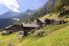 Alpine panorama with Walser huts Stock Photos