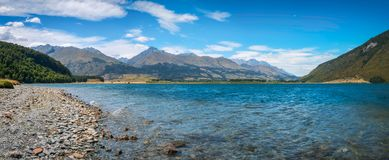 Alpine panoramic landscape at Diamond lake, NZ. Alpine panoramic landscape at Diamond lake with Mount Alfred in the background on the side of scenic Glenorchy Royalty Free Stock Photos