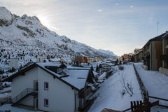 Alpine pass village in winter Royalty Free Stock Images