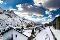 Alpine pass village in winter Royalty Free Stock Image