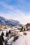Alpine pass village in winter Royalty Free Stock Photography