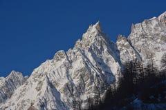 Alpine peack aiguille noire de peuterey monte bianco Royalty Free Stock Image