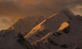 Alpine peak. On sunset in slovenian alps Stock Images