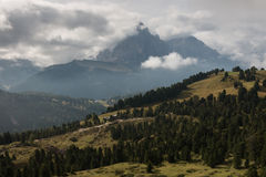 Alpine peaks above Val Gardena in Dolomites Royalty Free Stock Image