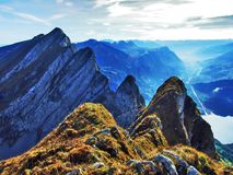 Alpine peaks in the Churfirsten mountain chain between Thur river valley and Walensee lake. Canton of St. Gallen, Switzerland royalty free stock photos