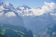 Alpine peaks landskape. Lauterbrunnen, Jungfrau, Bernese highland. Alps, tourism, journey, hiking concept. royalty free stock photography