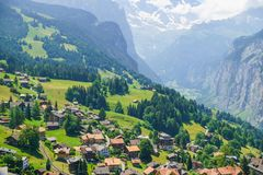 Alpine peaks landskape. Lauterbrunnen, Jungfrau, Bernese highland. Alps, tourism, journey, hiking concept. royalty free stock photo