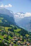 Alpine peaks landskape. Lauterbrunnen, Jungfrau, Bernese highland. Alps, tourism, journey, hiking concept. royalty free stock image