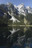 Alpine peaks mirroring in gosau lake Stock Photos