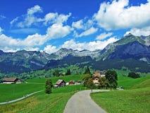 Alpine peaks and rocky landscape of the Alviergruppe mountain range. Canton of St. Gallen, Switzerland stock photography