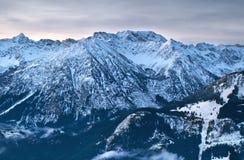 Alpine peaks in winter Stock Photo